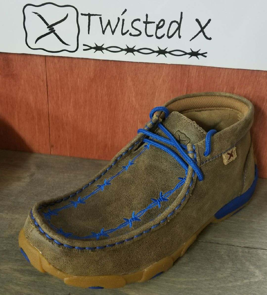 Twisted X Youth Mocs Blue Barbed Wire