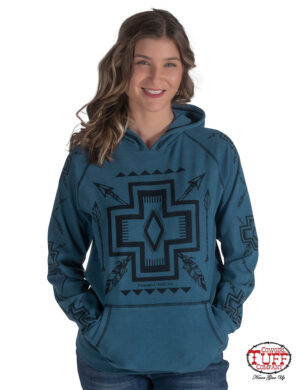 turquoise-hooded-pullover-sweatshirt-with-black-graphic-print-on-front-and-sleeves